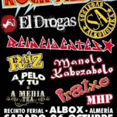 sociedad alkoholika, el Drogas, Reincidentes, La Raiz, A pelo y tú, A media Tea, Manolo Kabezabolo, Iratxo, MHP en Albox (Almería)